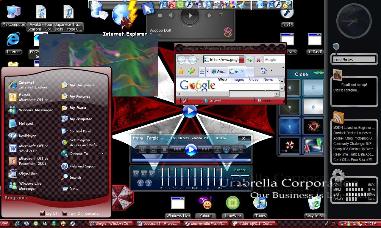 Google themes windows 7 free download - Umbrella Corp Windows 7 Theme Corporation Download 1280x768