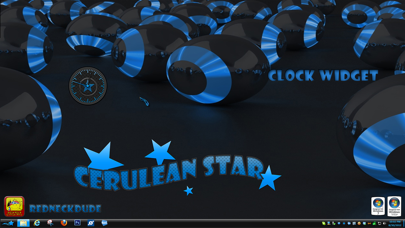 Cerulean Star Clock Widget