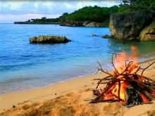 camp fire on a beach